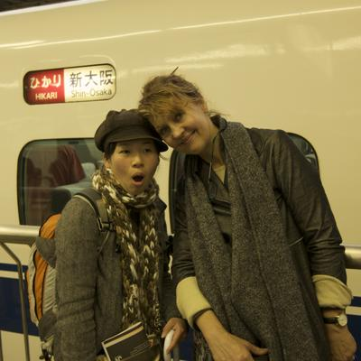 Coco and Fizzy getting on the Shinkansen
