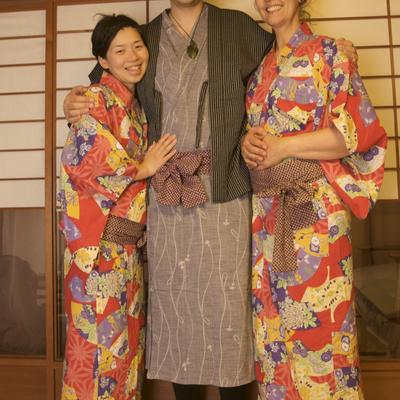 Everyone is dressed up in traditional yukata.
