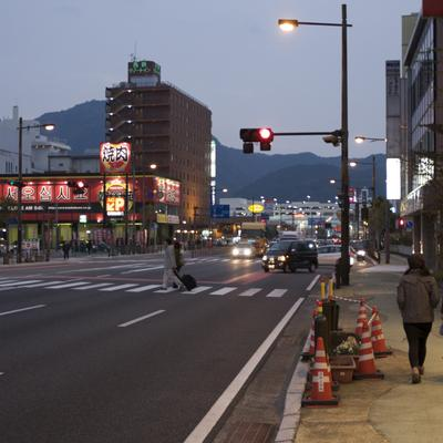 Beppu in the city at night.