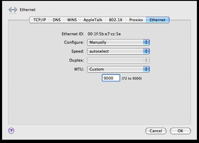Mac OS X Jumbo Frames